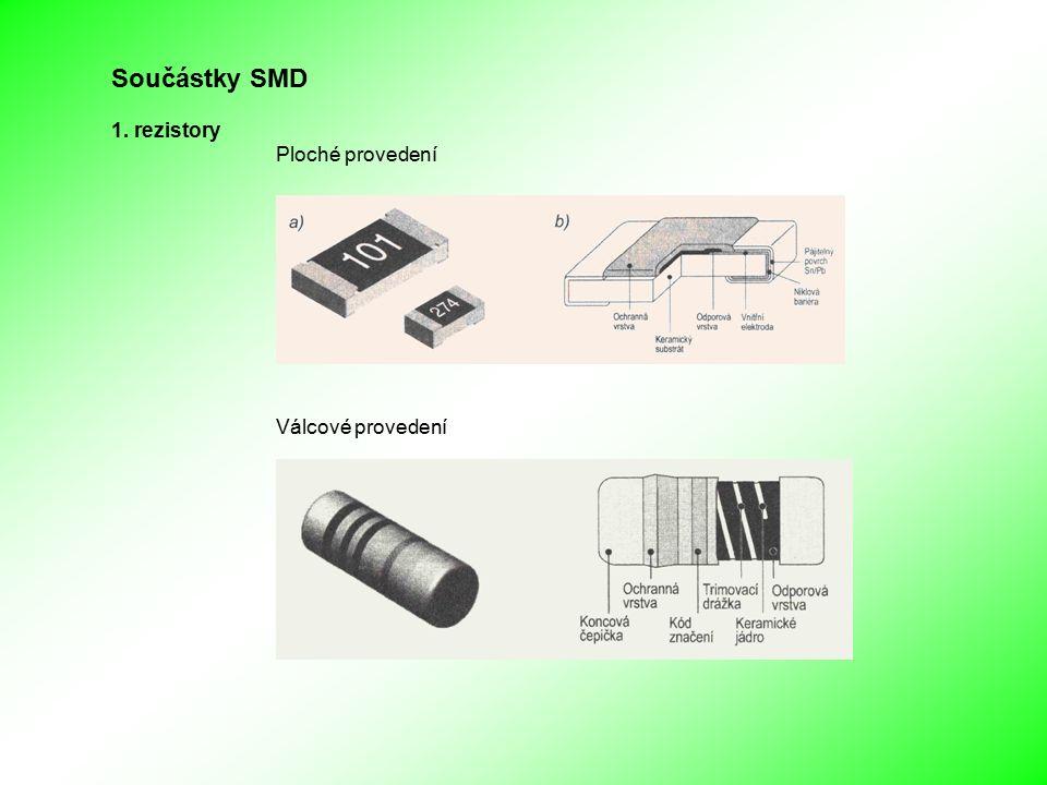 Součástky SMD 1. rezistory Ploché provedení Válcové provedení