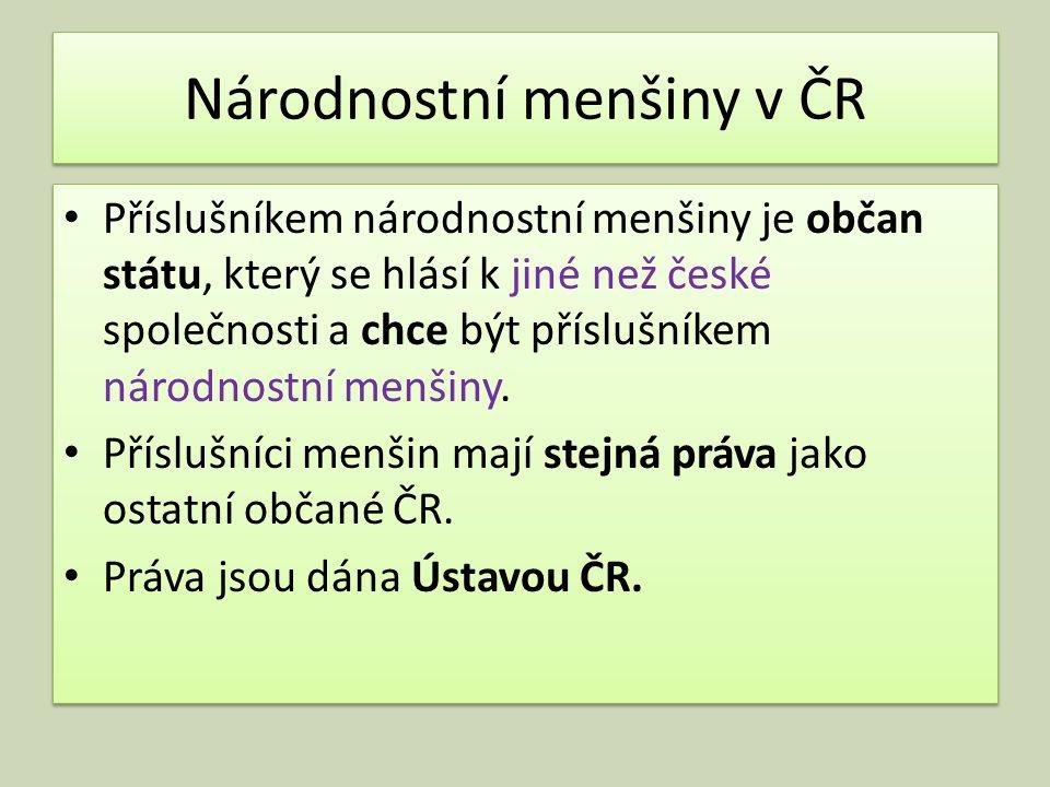 Národnostní menšiny v ČR Příslušníkem národnostní menšiny je občan státu, který se hlásí k jiné než české společnosti a chce být příslušníkem národnostní menšiny.