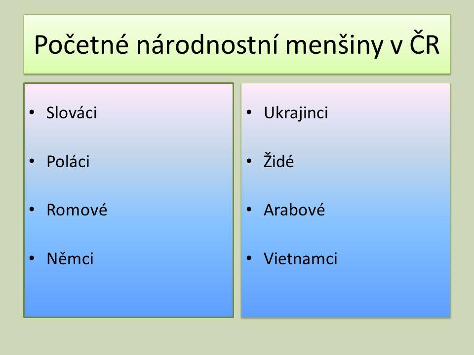 Početné národnostní menšiny v ČR Slováci Poláci Romové Němci Ukrajinci Židé Arabové Vietnamci Ukrajinci Židé Arabové Vietnamci