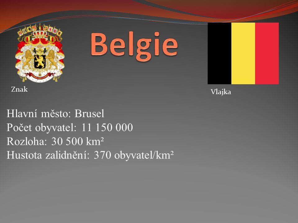 Znak Vlajka Hlavní město: Brusel Počet obyvatel: 11 150 000 Rozloha: 30 500 km² Hustota zalidnění: 370 obyvatel/km²