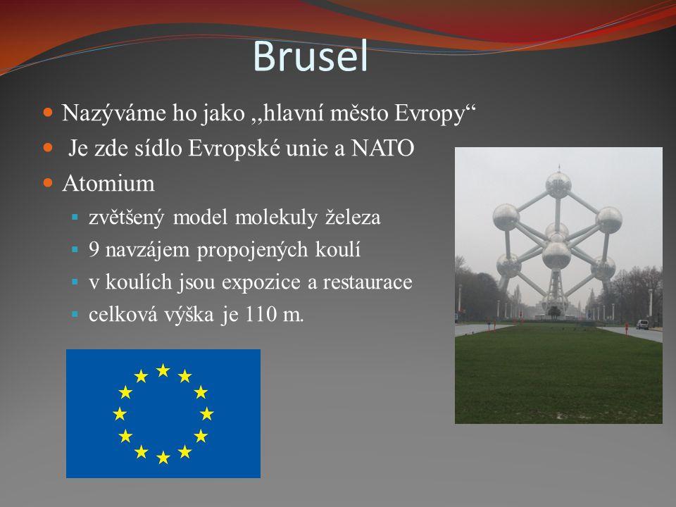 Brusel Nazýváme ho jako,,hlavní město Evropy Je zde sídlo Evropské unie a NATO Atomium  zvětšený model molekuly železa  9 navzájem propojených koulí  v koulích jsou expozice a restaurace  celková výška je 110 m.