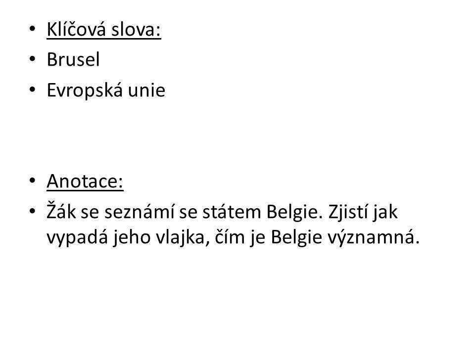 Klíčová slova: Brusel Evropská unie Anotace: Žák se seznámí se státem Belgie.