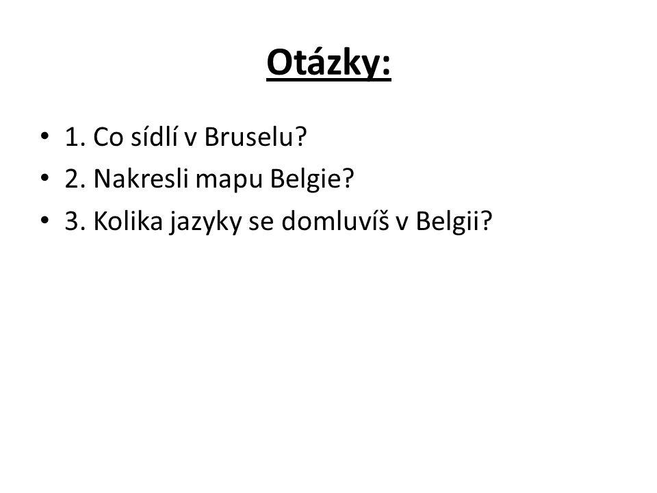 Otázky: 1. Co sídlí v Bruselu 2. Nakresli mapu Belgie 3. Kolika jazyky se domluvíš v Belgii