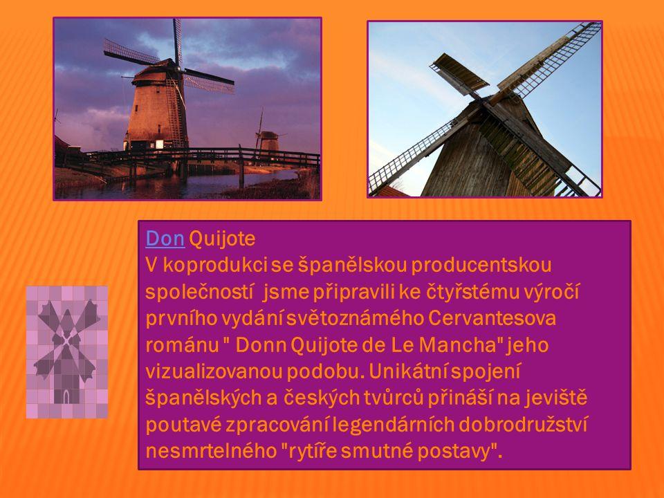 DonDon Quijote V koprodukci se španělskou producentskou společností jsme připravili ke čtyřstému výročí prvního vydání světoznámého Cervantesova románu Donn Quijote de Le Mancha jeho vizualizovanou podobu.