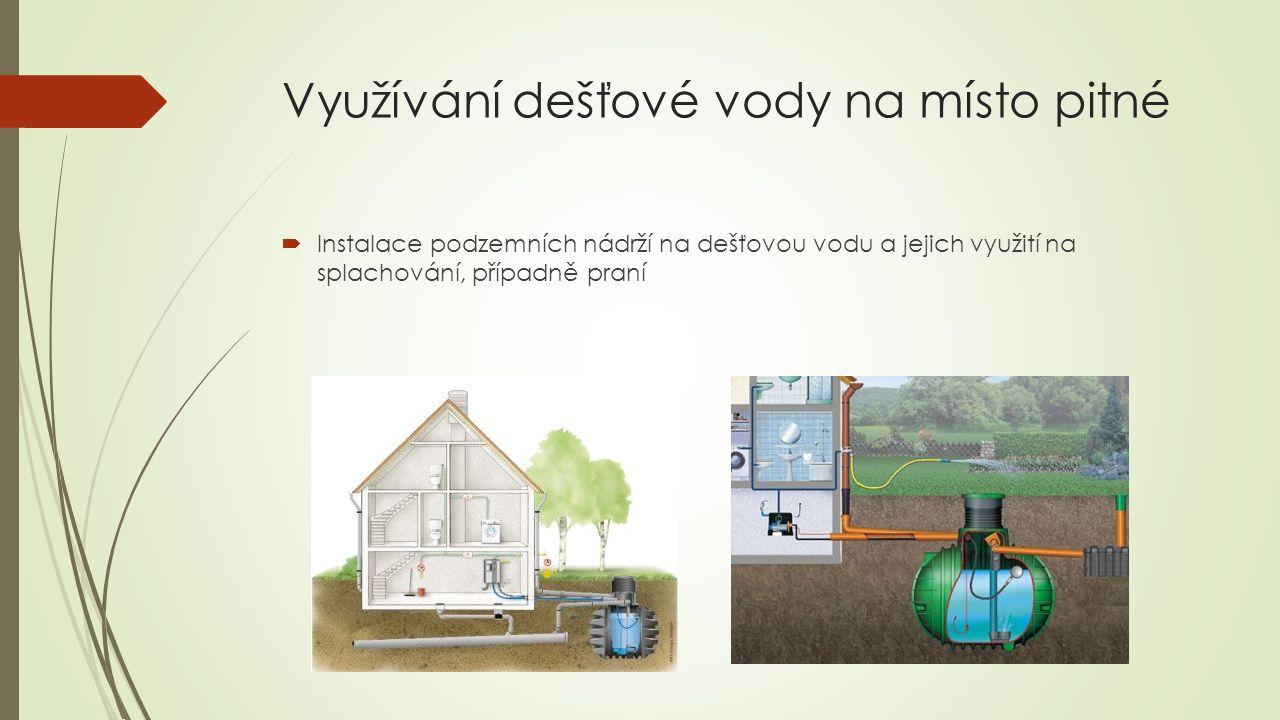  Instalace podzemních nádrží na dešťovou vodu a jejich využití na splachování, případně praní