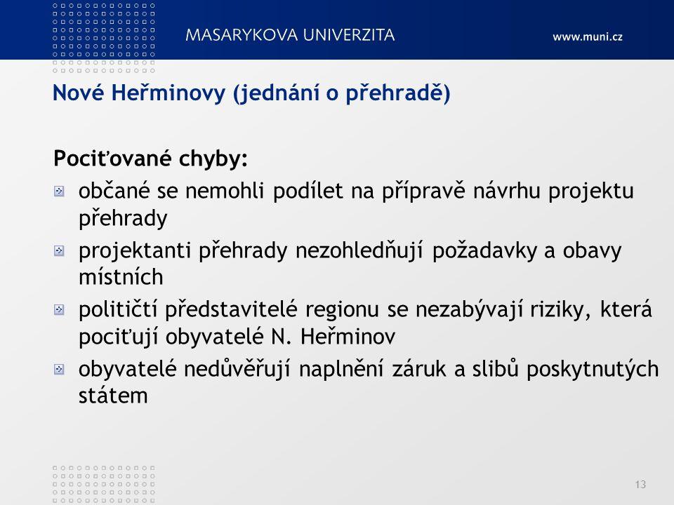 Nové Heřminovy (jednání o přehradě) 13 Pociťované chyby: občané se nemohli podílet na přípravě návrhu projektu přehrady projektanti přehrady nezohledňují požadavky a obavy místních političtí představitelé regionu se nezabývají riziky, která pociťují obyvatelé N.