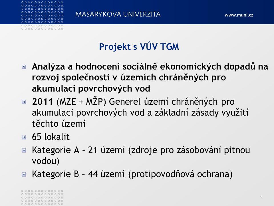 Projekt s VÚV TGM Analýza a hodnocení sociálně ekonomických dopadů na rozvoj společnosti v územích chráněných pro akumulaci povrchových vod 2011 (MZE + MŽP) Generel území chráněných pro akumulaci povrchových vod a základní zásady využití těchto území 65 lokalit Kategorie A – 21 území (zdroje pro zásobování pitnou vodou) Kategorie B – 44 území (protipovodňová ochrana) 2