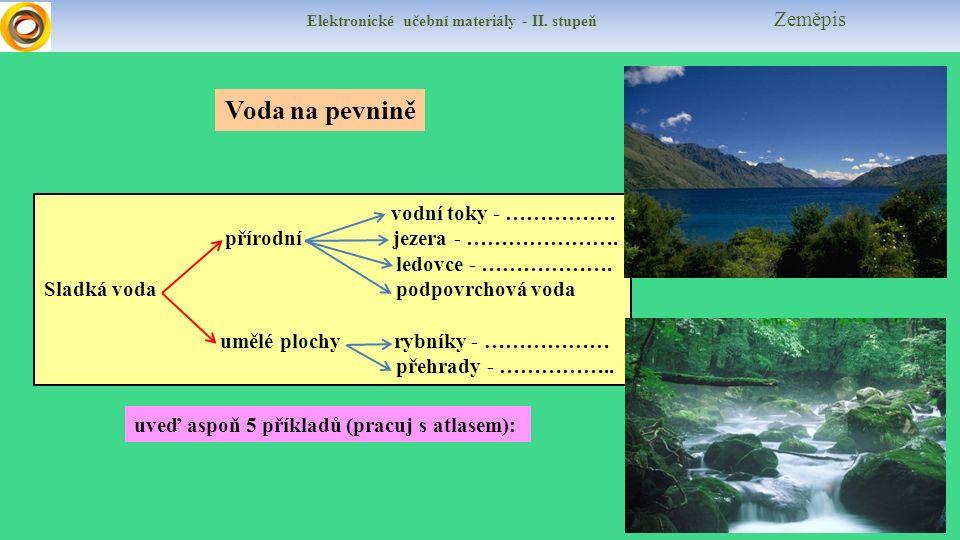 Elektronické učební materiály - II. stupeň Zeměpis Voda na pevnině vodní toky - …………….