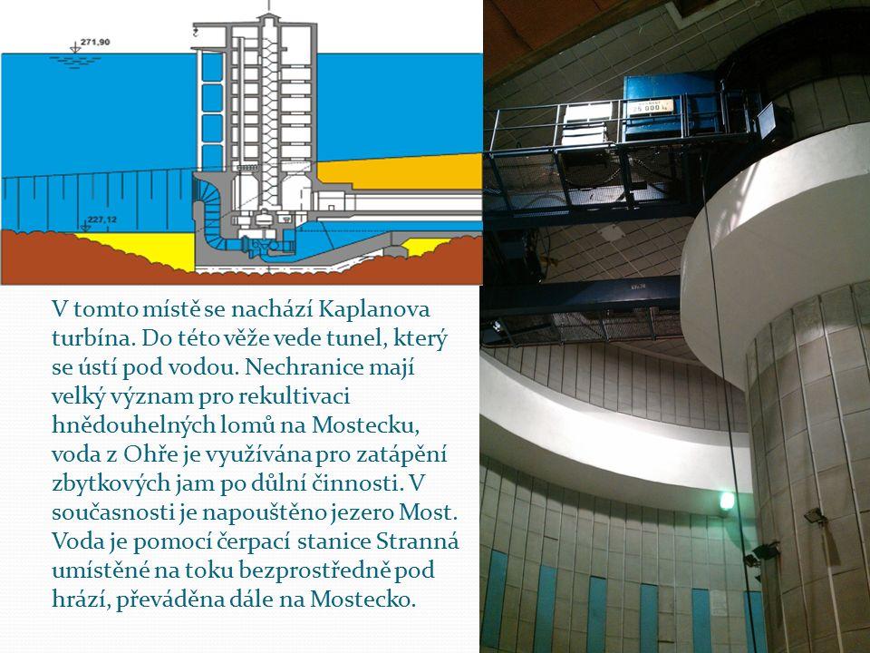 V tomto místě se nachází Kaplanova turbína. Do této věže vede tunel, který se ústí pod vodou. Nechranice mají velký význam pro rekultivaci hnědouhelný