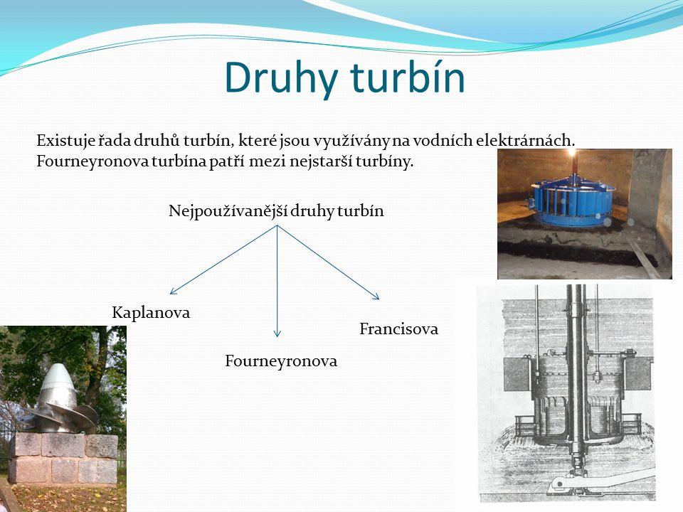 Druhy turbín Existuje řada druhů turbín, které jsou využívány na vodních elektrárnách. Fourneyronova turbína patří mezi nejstarší turbíny. Nejpoužívan