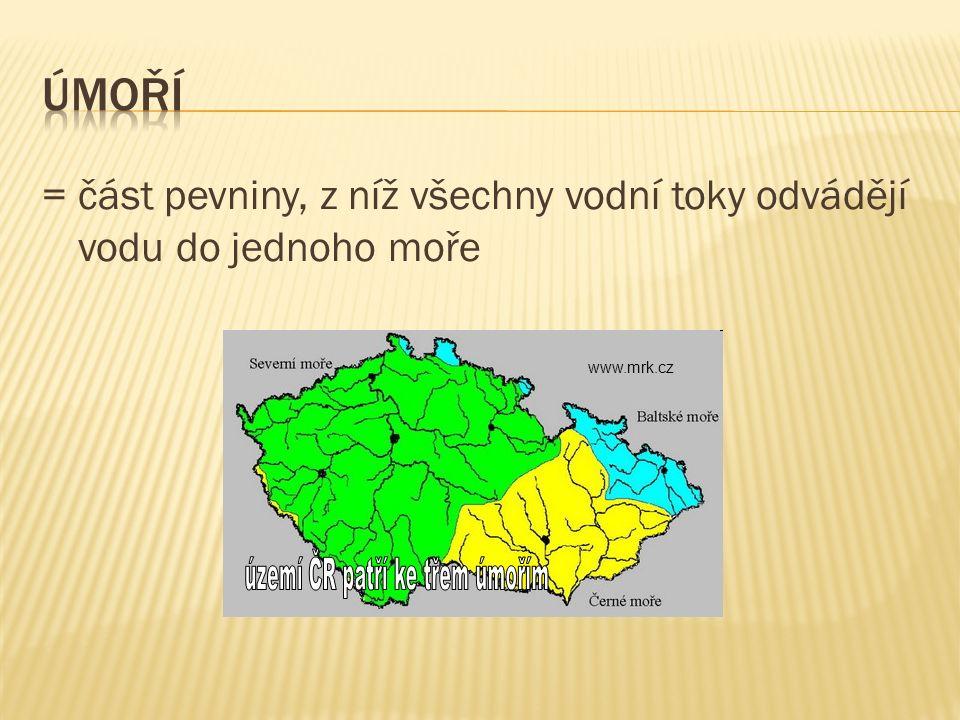= část pevniny, z níž všechny vodní toky odvádějí vodu do jednoho moře www.mrk.cz