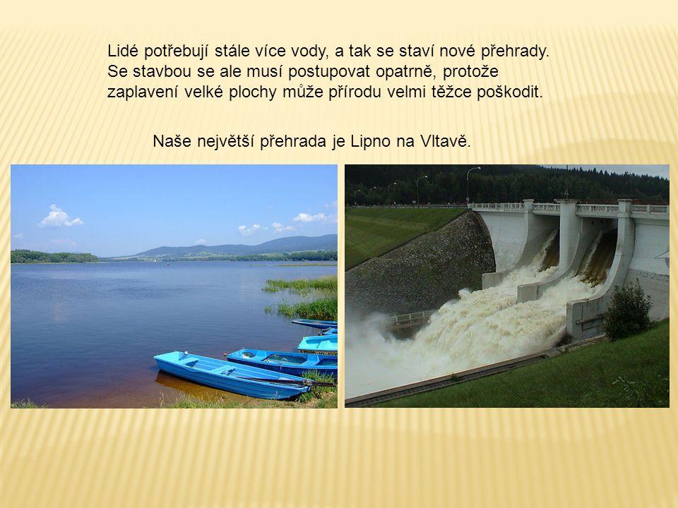 Lidé potřebují stále více vody, a tak se staví nové přehrady. Se stavbou se ale musí postupovat opatrně, protože zaplavení velké plochy může přírodu v