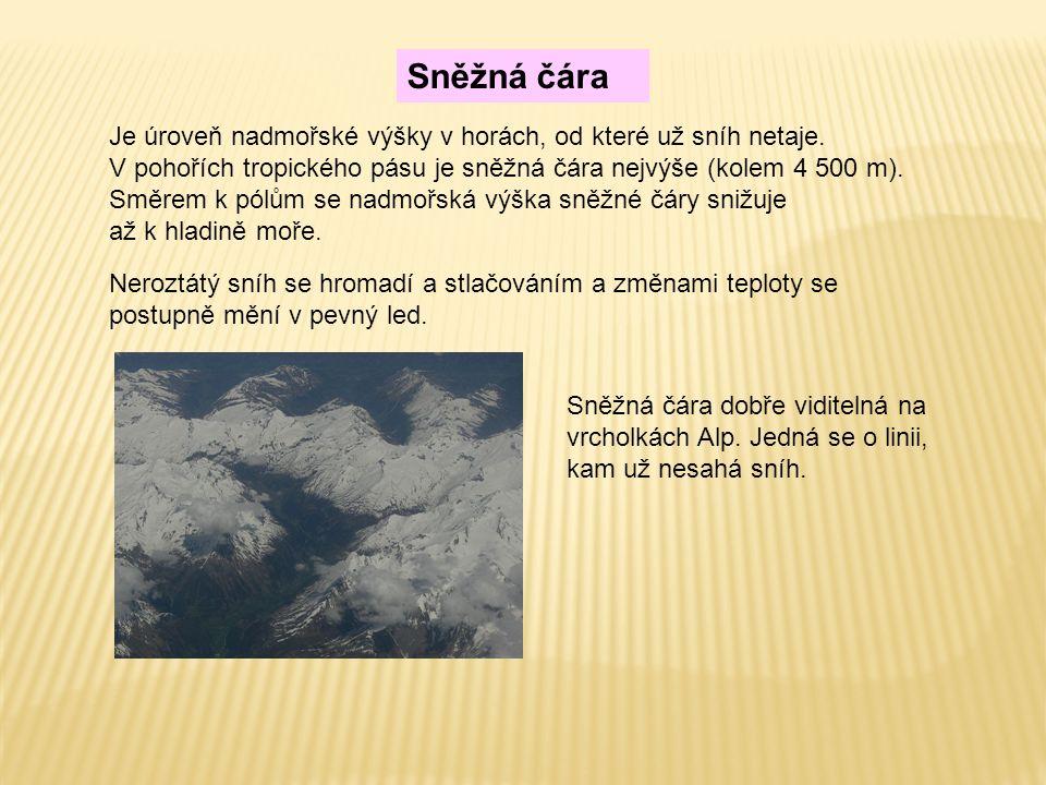 Sněžná čára Je úroveň nadmořské výšky v horách, od které už sníh netaje. V pohořích tropického pásu je sněžná čára nejvýše (kolem 4 500 m). Směrem k p