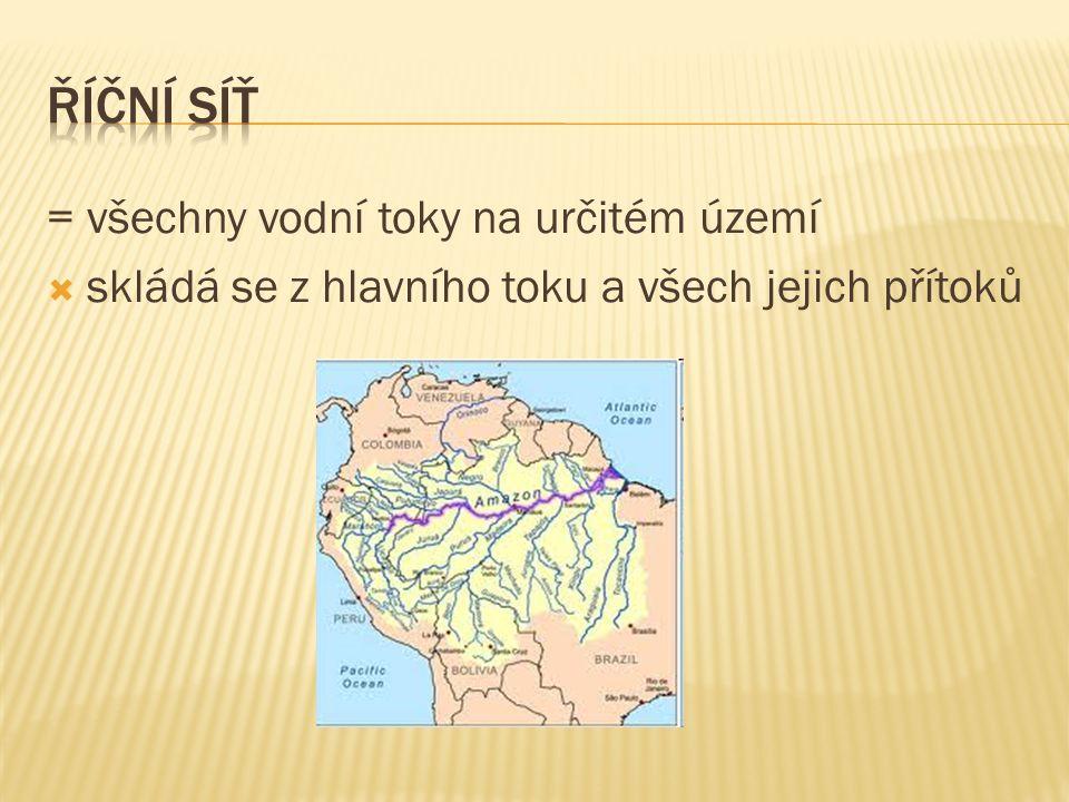 = všechny vodní toky na určitém území  skládá se z hlavního toku a všech jejich přítoků