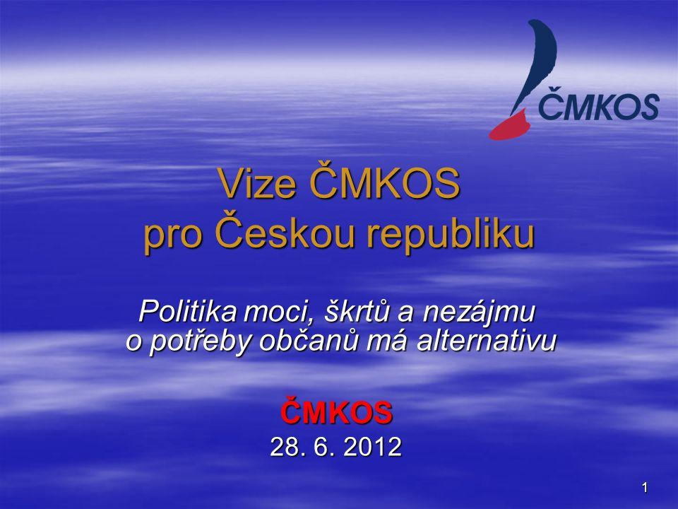 1 Vize ČMKOS pro Českou republiku Politika moci, škrtů a nezájmu o potřeby občanů má alternativu ČMKOS 28.