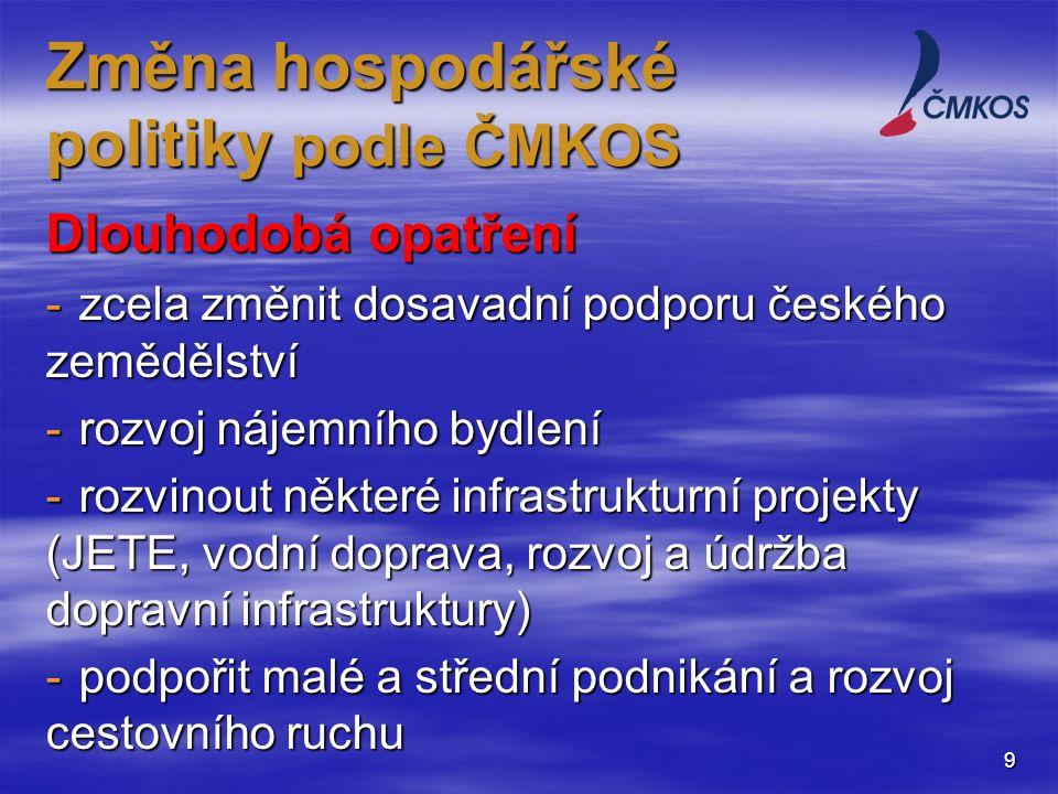 Dlouhodobá opatření -zcela změnit dosavadní podporu českého zemědělství -rozvoj nájemního bydlení -rozvinout některé infrastrukturní projekty (JETE, vodní doprava, rozvoj a údržba dopravní infrastruktury) -podpořit malé a střední podnikání a rozvoj cestovního ruchu 9