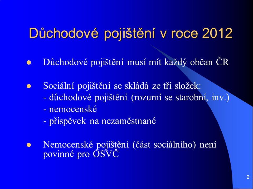 2 Důchodové pojištění v roce 2012 Důchodové pojištění musí mít každý občan ČR Sociální pojištění se skládá ze tří složek: - důchodové pojištění (rozumí se starobní, inv.) - nemocenské - příspěvek na nezaměstnané Nemocenské pojištění (část sociálního) není povinné pro OSVČ