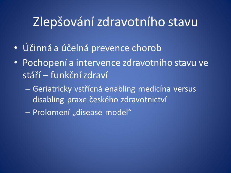 Zlepšování zdravotního stavu Účinná a účelná prevence chorob Pochopení a intervence zdravotního stavu ve stáří – funkční zdraví – Geriatricky vstřícná
