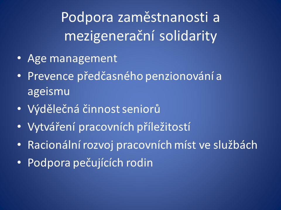 Podpora zaměstnanosti a mezigenerační solidarity Age management Prevence předčasného penzionování a ageismu Výdělečná činnost seniorů Vytváření pracovních příležitostí Racionální rozvoj pracovních míst ve službách Podpora pečujících rodin