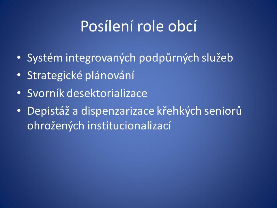 Posílení role obcí Systém integrovaných podpůrných služeb Strategické plánování Svorník desektorializace Depistáž a dispenzarizace křehkých seniorů oh