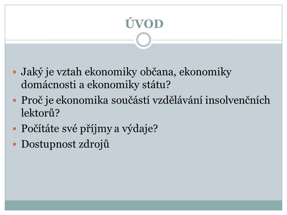 ÚVOD  Jaký je vztah ekonomiky občana, ekonomiky domácnosti a ekonomiky státu?  Proč je ekonomika součástí vzdělávání insolvenčních lektorů?  Počítá