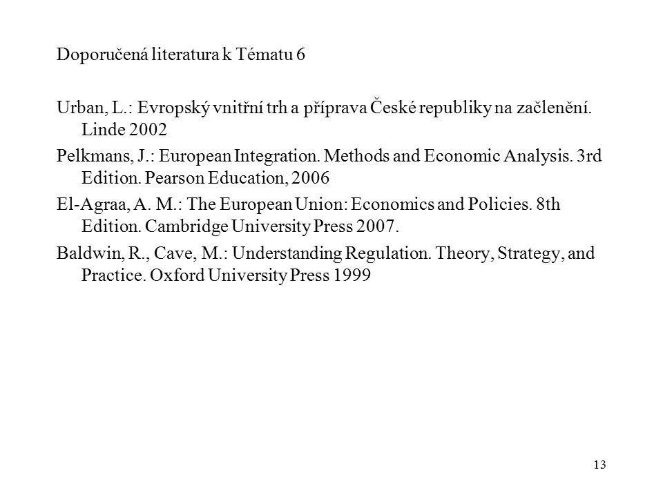 13 Doporučená literatura k Tématu 6 Urban, L.: Evropský vnitřní trh a příprava České republiky na začlenění.
