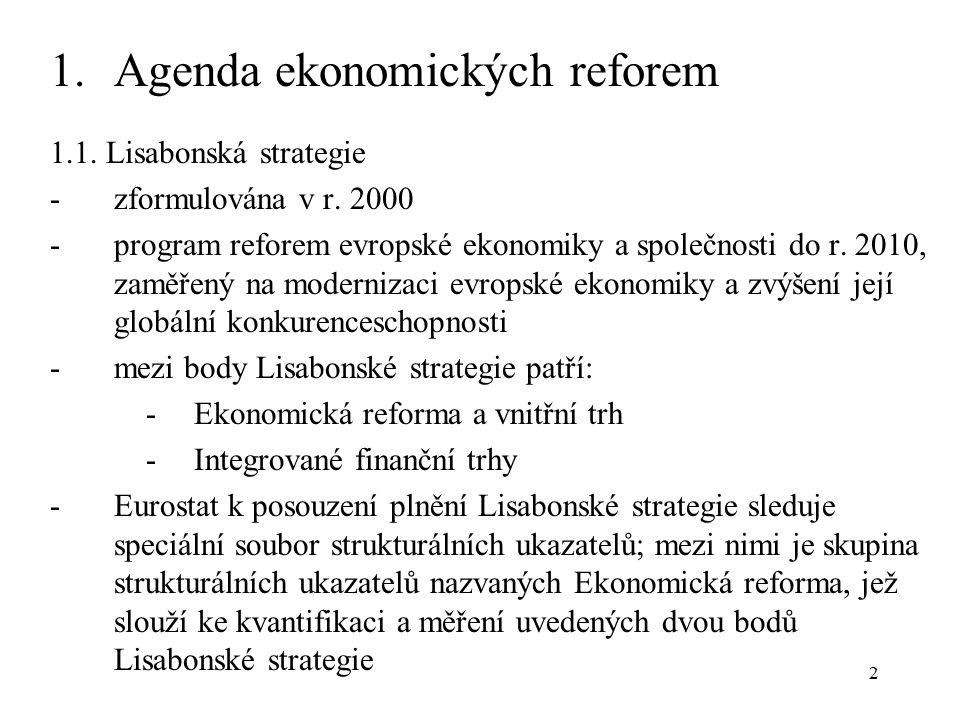 2 1.Agenda ekonomických reforem 1.1. Lisabonská strategie - zformulována v r.