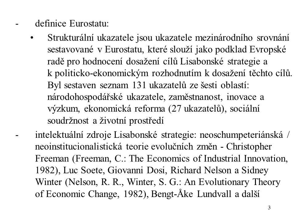 3 -definice Eurostatu: Strukturální ukazatele jsou ukazatele mezinárodního srovnání sestavované v Eurostatu, které slouží jako podklad Evropské radě pro hodnocení dosažení cílů Lisabonské strategie a k politicko-ekonomickým rozhodnutím k dosažení těchto cílů.