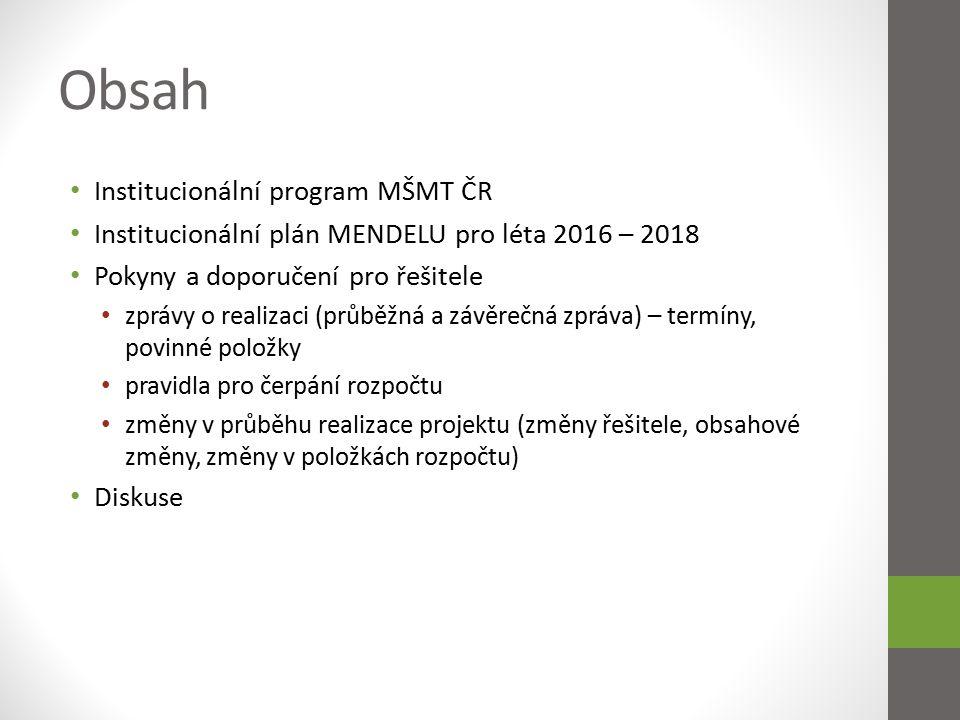 Institucionální program MŠMT ČR Možnost získání finančních prostředků na realizaci aktivit vedoucích k naplňování prioritních cílů Dlouhodobého záměru.