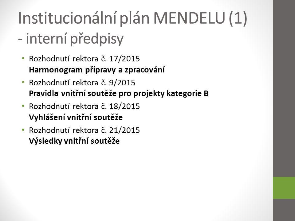 """Institucionální plán MENDELU (2) - struktura Tříleté období 2016 - 2018 8 prioritních cílů univerzity cíle 1 – 7 vycházejí z DZ a ADZ MENDELU cíl 8 – projekty kategorie """"B (vnitřní soutěž - povinná složka dle Vyhlášení inst."""