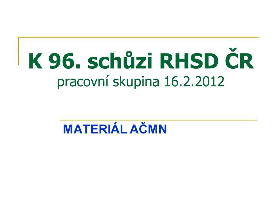 K 96. schůzi RHSD ČR pracovní skupina 16.2.2012 MATERIÁL AČMN