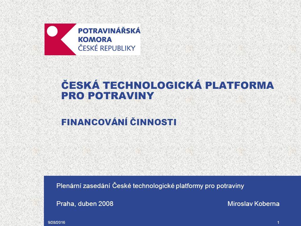 9/28/20161 ČESKÁ TECHNOLOGICKÁ PLATFORMA PRO POTRAVINY FINANCOVÁNÍ ČINNOSTI Plenární zasedání České technologické platformy pro potraviny Praha, duben 2008 Miroslav Koberna
