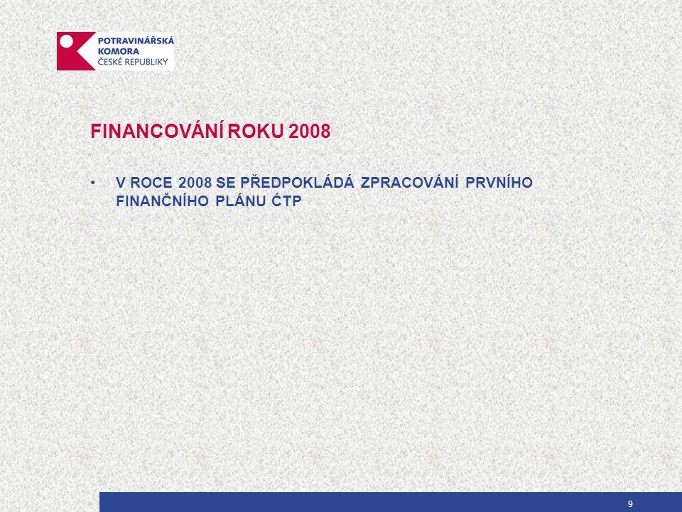 9 FINANCOVÁNÍ ROKU 2008 V ROCE 2008 SE PŘEDPOKLÁDÁ ZPRACOVÁNÍ PRVNÍHO FINANČNÍHO PLÁNU ĆTP
