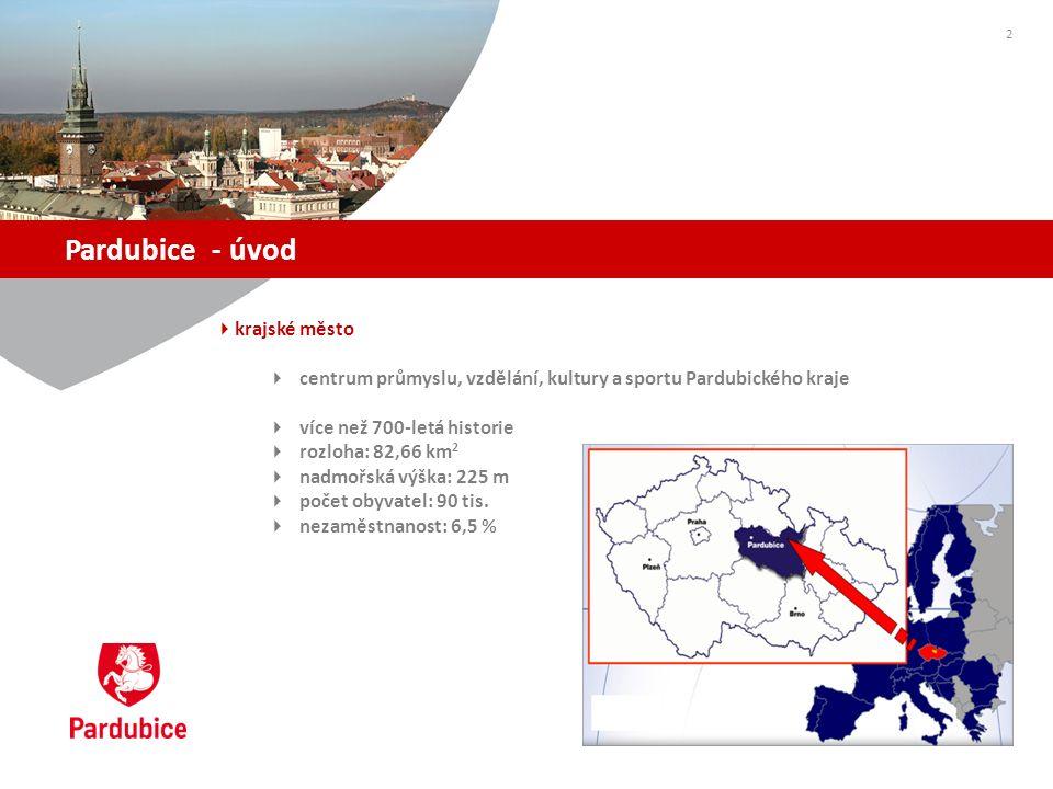 Pardubice - úvod  krajské město  centrum průmyslu, vzdělání, kultury a sportu Pardubického kraje  více než 700-letá historie  rozloha: 82,66 km 2  nadmořská výška: 225 m  počet obyvatel: 90 tis.