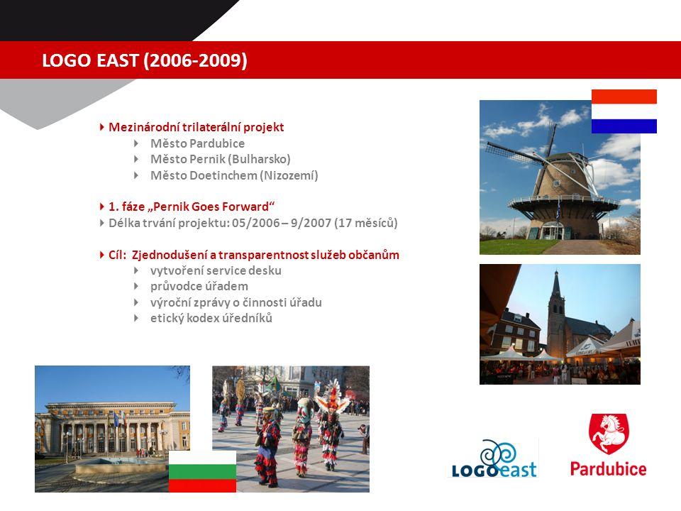 LOGO EAST (2006-2009)  Mezinárodní trilaterální projekt  Město Pardubice  Město Pernik (Bulharsko)  Město Doetinchem (Nizozemí)  1.