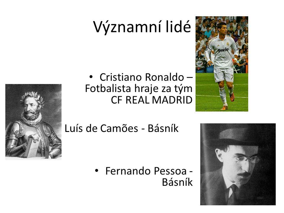 Významní lidé Cristiano Ronaldo – Fotbalista hraje za tým CF REAL MADRID Luís de Camões - Básník Fernando Pessoa - Básník