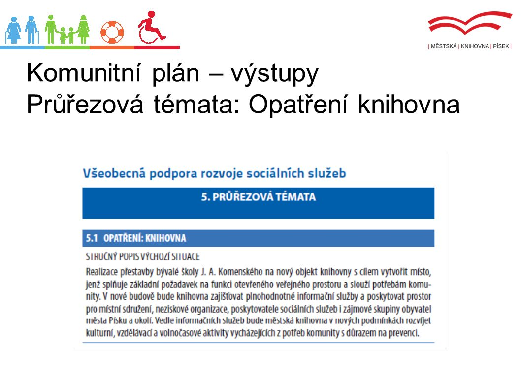 Komunitní plán – výstupy Průřezová témata: Opatření knihovna