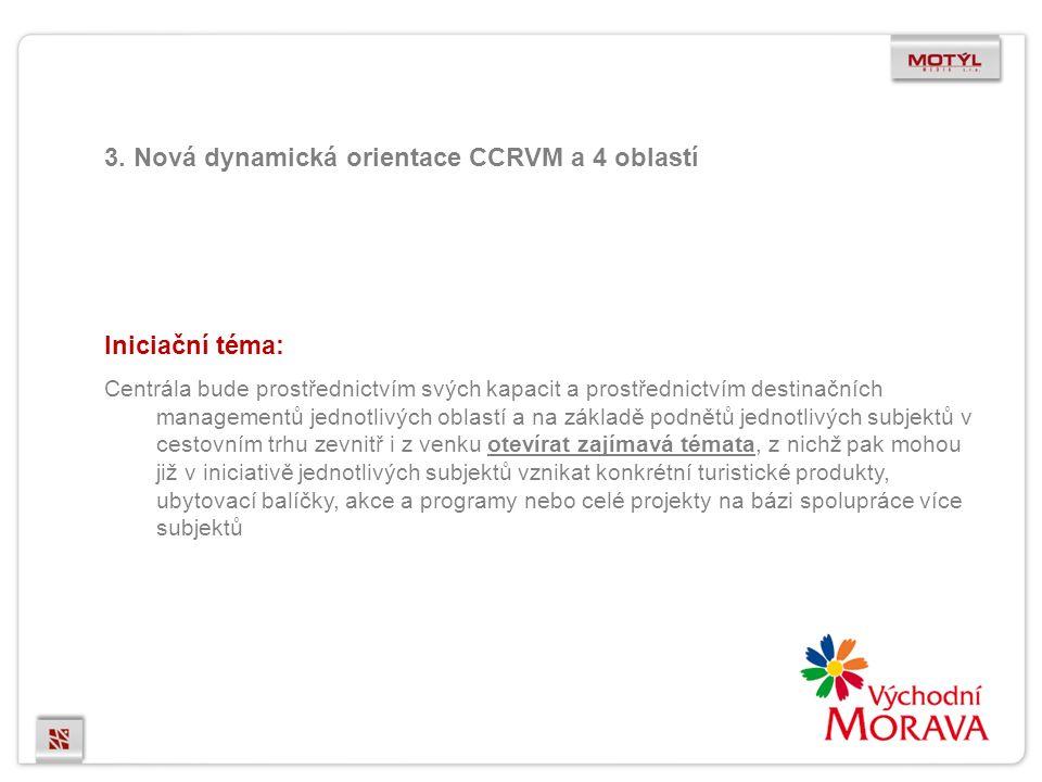 3. Nová dynamická orientace CCRVM a 4 oblastí Iniciační téma: Centrála bude prostřednictvím svých kapacit a prostřednictvím destinačních managementů j