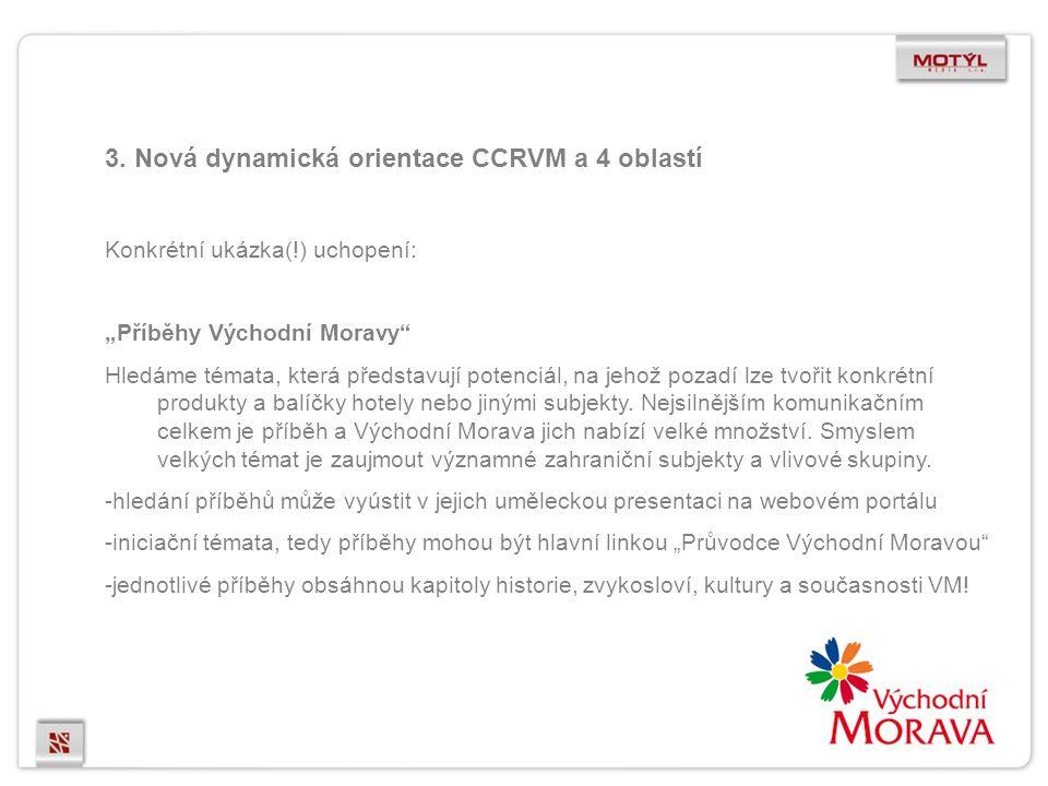 """3. Nová dynamická orientace CCRVM a 4 oblastí Konkrétní ukázka(!) uchopení: """"Příběhy Východní Moravy"""" Hledáme témata, která představují potenciál, na"""