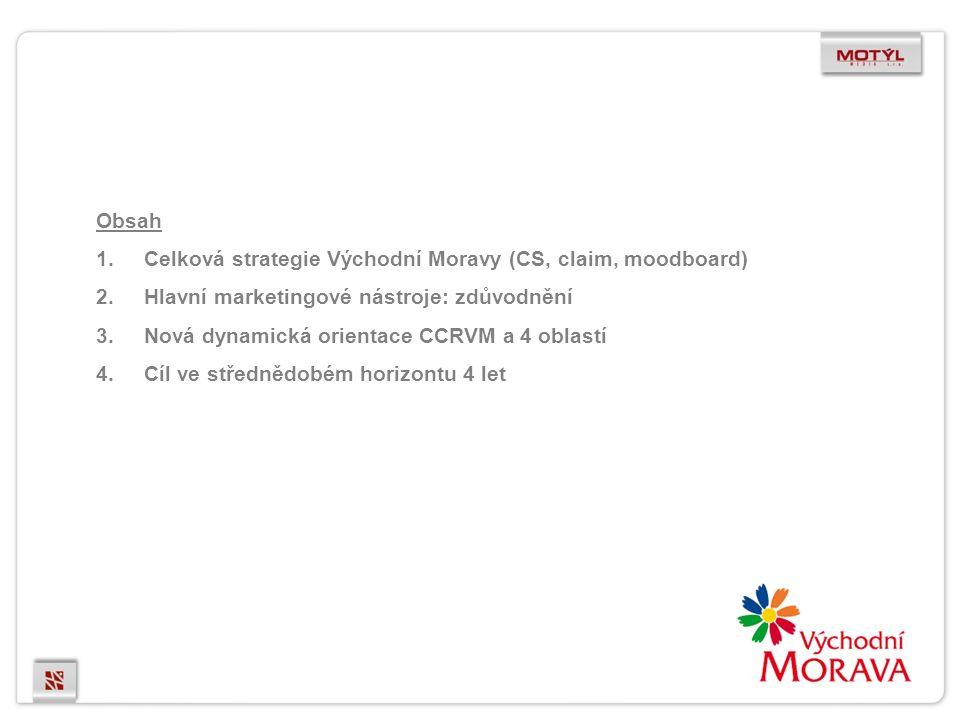 Obsah 1.Celková strategie Východní Moravy (CS, claim, moodboard) 2.Hlavní marketingové nástroje: zdůvodnění 3.Nová dynamická orientace CCRVM a 4 oblastí 4.Cíl ve střednědobém horizontu 4 let