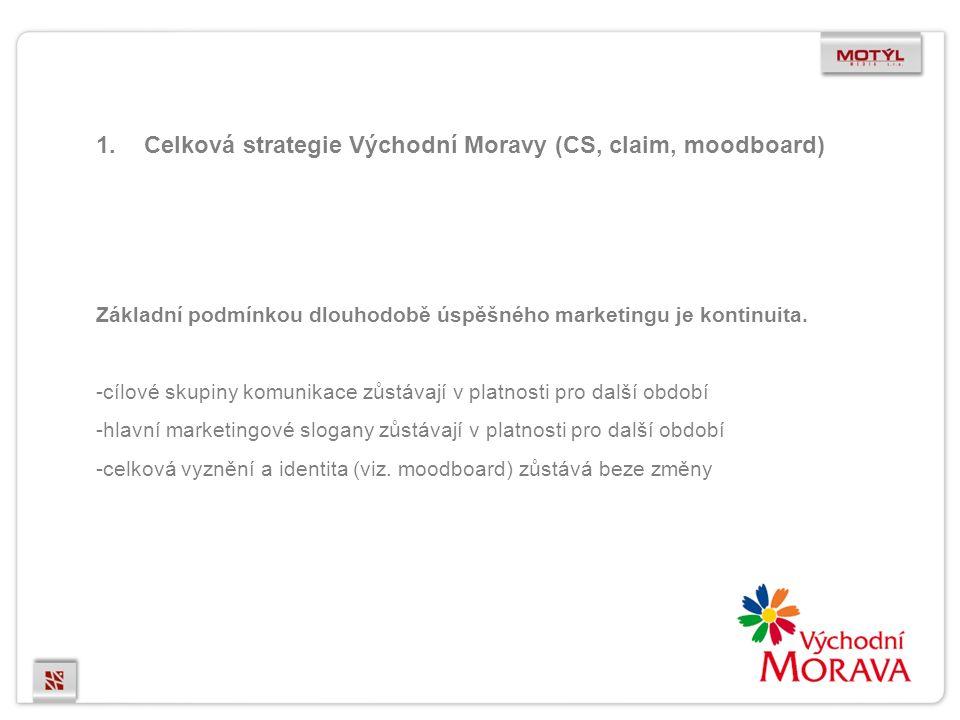 1.Celková strategie Východní Moravy (CS, claim, moodboard) Základní podmínkou dlouhodobě úspěšného marketingu je kontinuita.