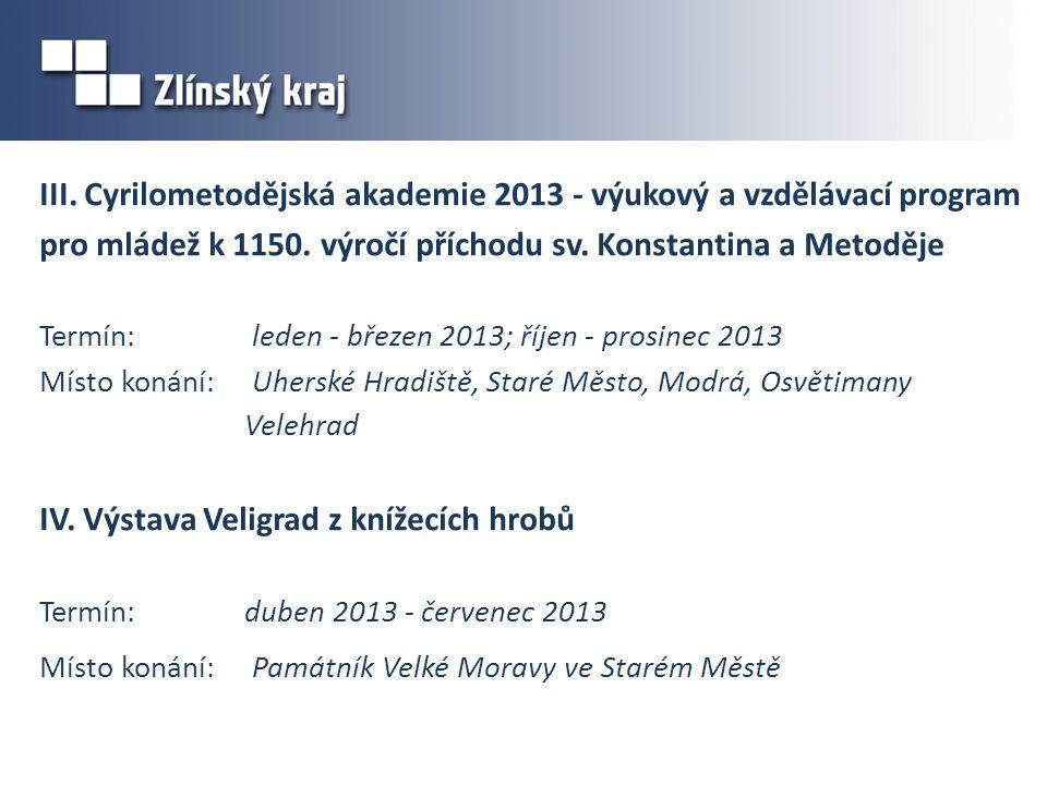 III. Cyrilometodějská akademie 2013 - výukový a vzdělávací program pro mládež k 1150.