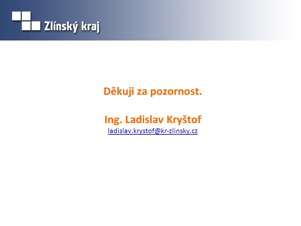 Děkuji za pozornost. Ing. Ladislav Kryštof ladislav.krystof@kr-zlinsky.cz