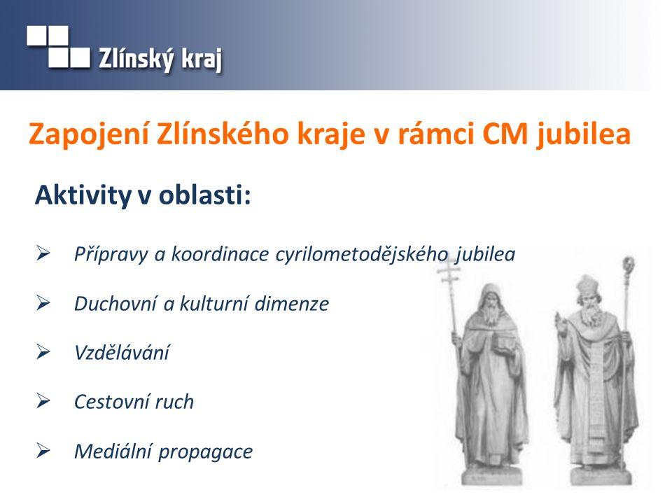 Zapojení Zlínského kraje v rámci CM jubilea Aktivity v oblasti:  Přípravy a koordinace cyrilometodějského jubilea  Duchovní a kulturní dimenze  Vzd