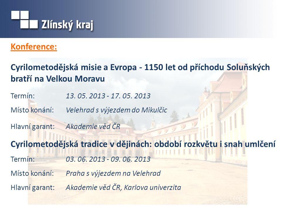 Konference: Cyrilometodějská misie a Evropa - 1150 let od příchodu Soluňských bratří na Velkou Moravu Termín: 13. 05. 2013 - 17. 05. 2013 Místo konání