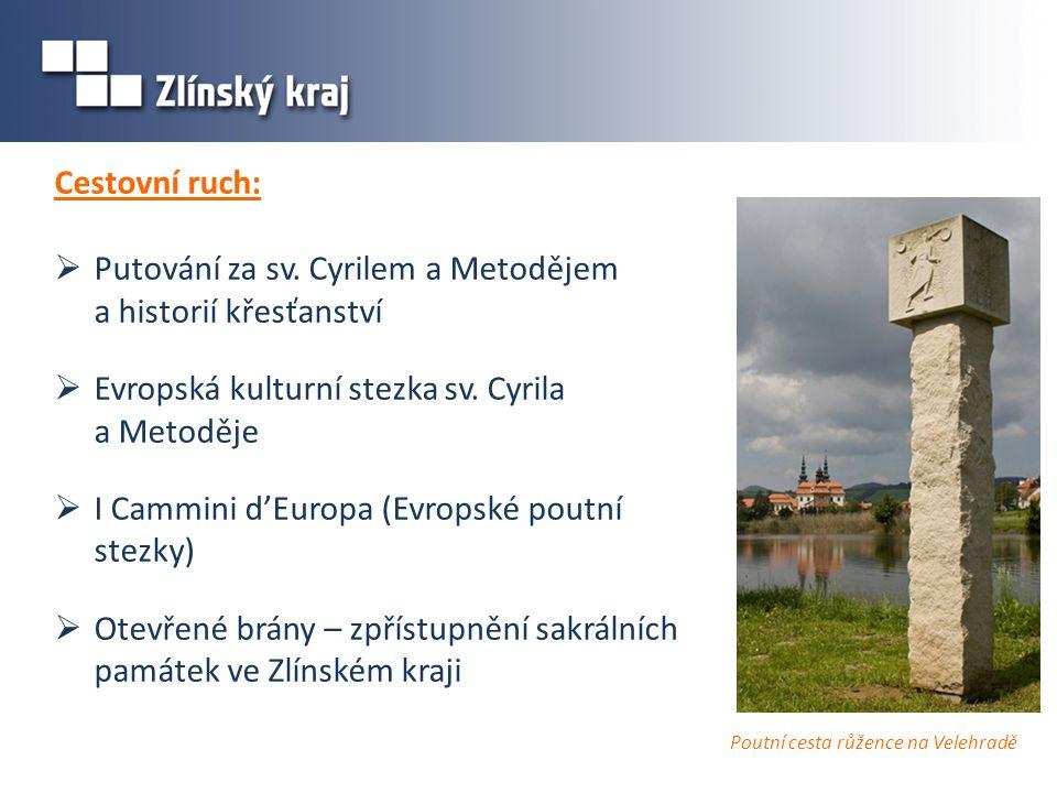 Cestovní ruch:  Putování za sv. Cyrilem a Metodějem a historií křesťanství  Evropská kulturní stezka sv. Cyrila a Metoděje  I Cammini d'Europa (Evr