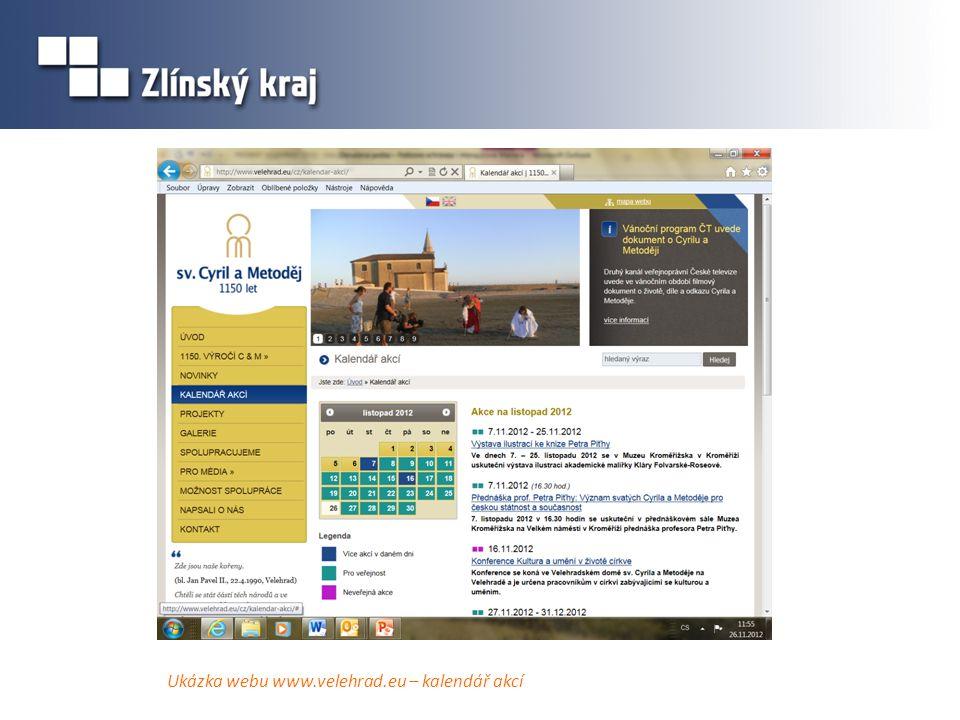 Ukázka webu www.velehrad.eu – kalendář akcí