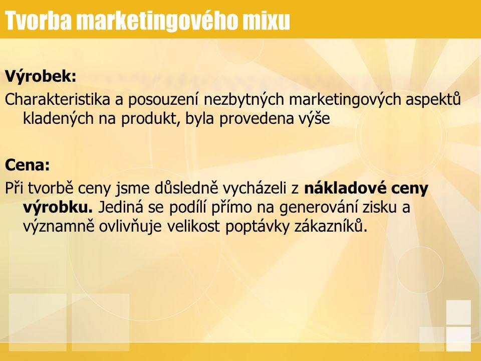 Tvorba marketingového mixu Výrobek: Charakteristika a posouzení nezbytných marketingových aspektů kladených na produkt, byla provedena výše Cena: Při tvorbě ceny jsme důsledně vycházeli z nákladové ceny výrobku.