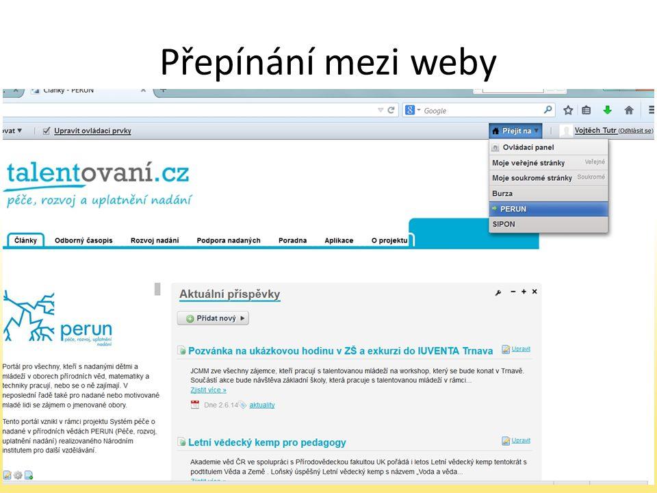 Přepínání mezi weby