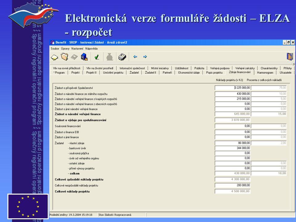 Elektronická verze formuláře žádosti – ELZA - rozpočet